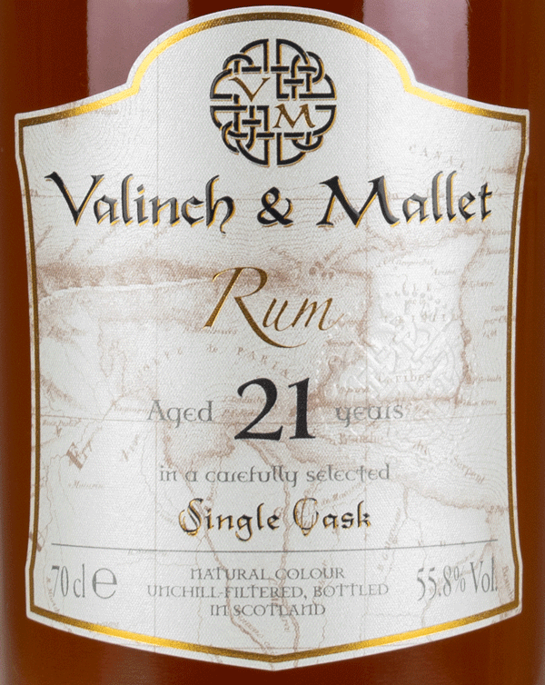 Caroni 21 label Valinch & Mallet Traditional Rum