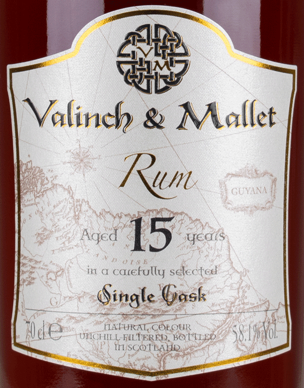 Diamond 15 label Valinch & Mallet Traditional Rum