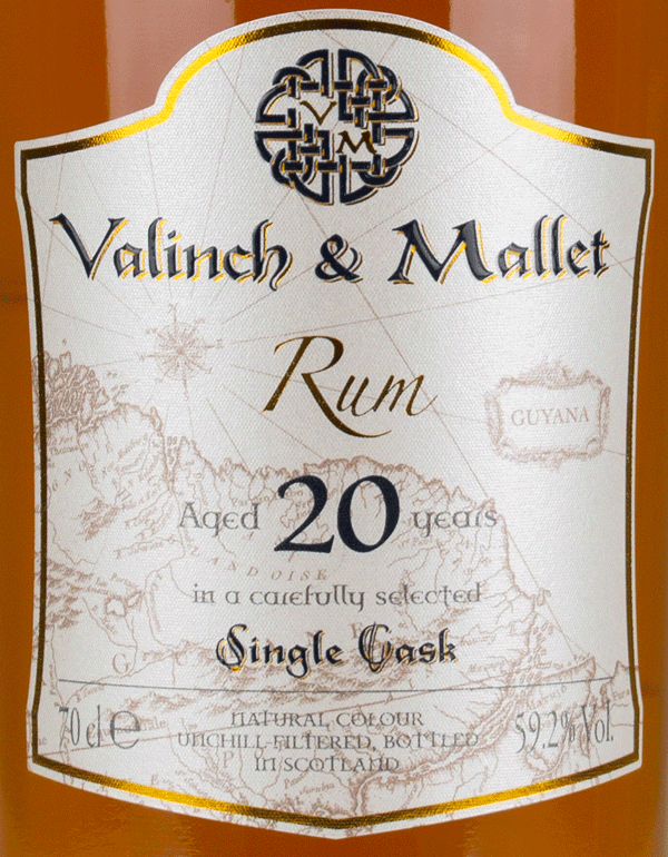 Uitvlugt 20 label Valinch & Mallet Pure Single Rum